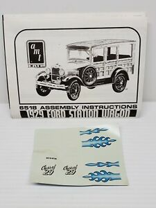 1929 Ford Station Wagon Model Kit Instruction + Decal Sheet Only 1:25 Scale AMT