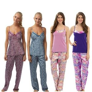 894be9cc29 Das Bild wird geladen Damen-Sommer-atin-Pyjama-Sets-PJs-Pyjamas-Schlafanzug-