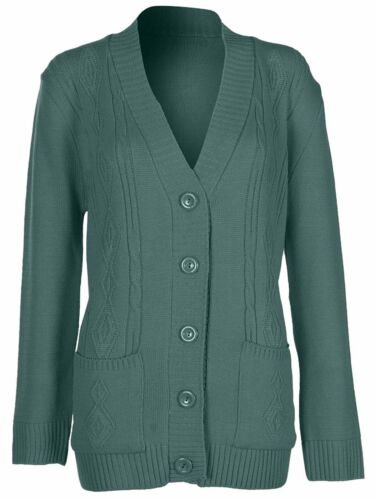 Womens 5 Button Cable Knit Winter Ladies Cardigan Knitted Jumper Size 8 10 12 14