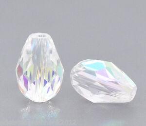 50-Farbe-Oval-Kristall-Facettiert-Glasperlen-Beads-Tropfen-11x8mm