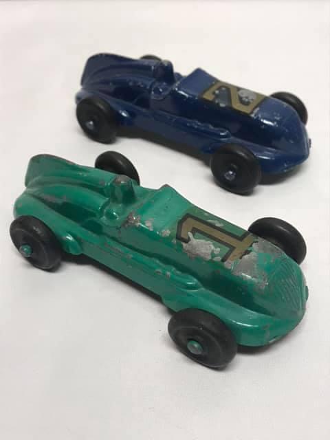 Pair of Vintage Cast Metal Race Cars