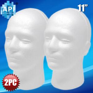 2pc 11' MALE STYROFOAM FOAM MANNEQUIN MANIKIN head wig display hat glasses