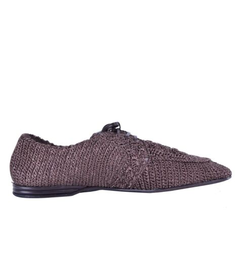 "DOLCE /& GABBANA Woven Light Raffia Derby Shoes /""Amalfi/"" Brown 04664"