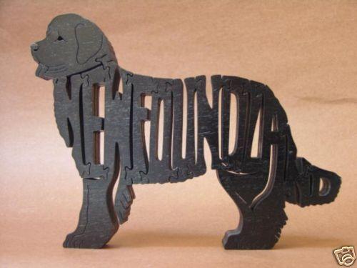 Newfoundland Black Dog Wooden Amish made Toy Puzzle Figurine Art