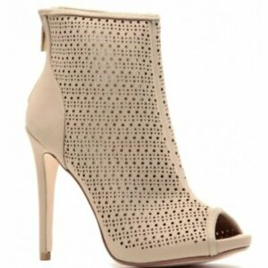 Anne-Michelle-Shoes-Perton-79-Stiletto-Booties-Nude-Tan-Peep-Toe-Sueded-Size-7