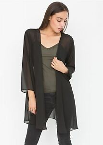 watch 6dfff 86a8f Details about Elegant Sheer Longline Cardigan Black