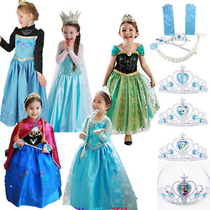 Toddler-Kids-Girls-Anna-Elsa-Princess-Party-Fancy-Dress-Up-Cosplay-Costumes-Lot