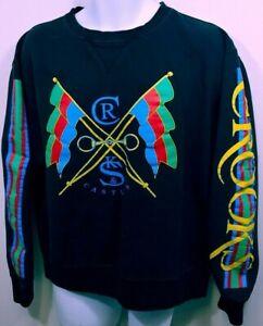 Crooks-amp-Castles-Mens-Sweatshirt-black-Flags-Big-Logo-Spellout-Large-A726