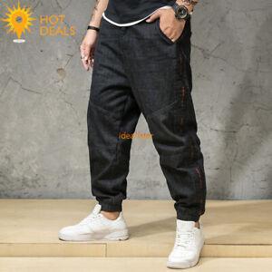 Nouveau-Homme-Noir-Jogger-denim-pantalon-effet-vieilli-Loose-Harem-Jeans-Plus-Taille-30-46
