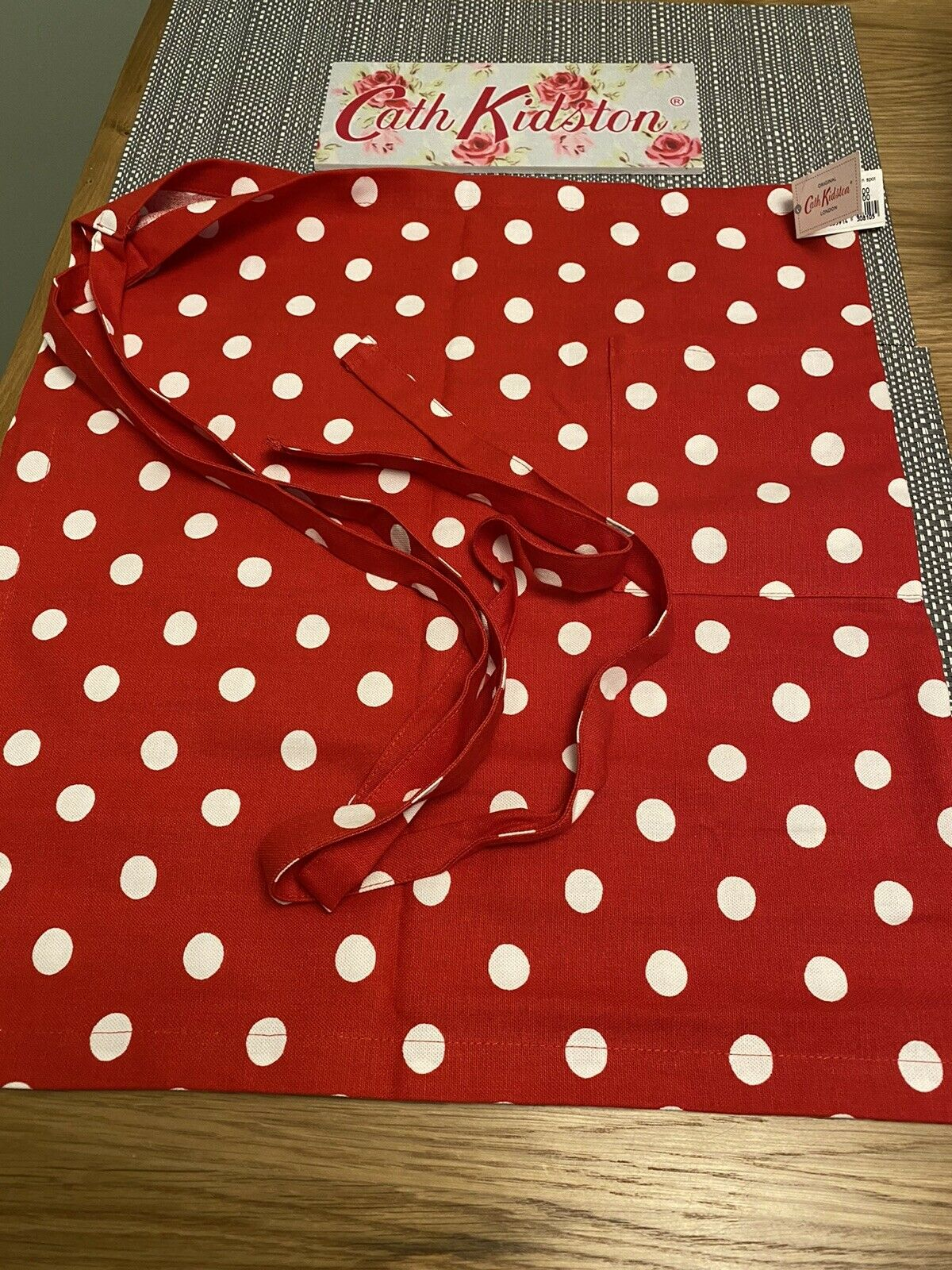 Cath Kidston Half Apron - Red Button Spot, Cotton Brand New With Tags- Free Post
