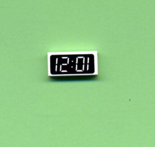 Fliese-Kachel Lego--3069px5- Weiß//Schwarz--Digitale Uhr--Bedruckt 1 x 2