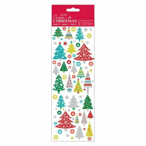 Docraft Papermania créer Noël Autocollants Folk arbres pour Artisanat
