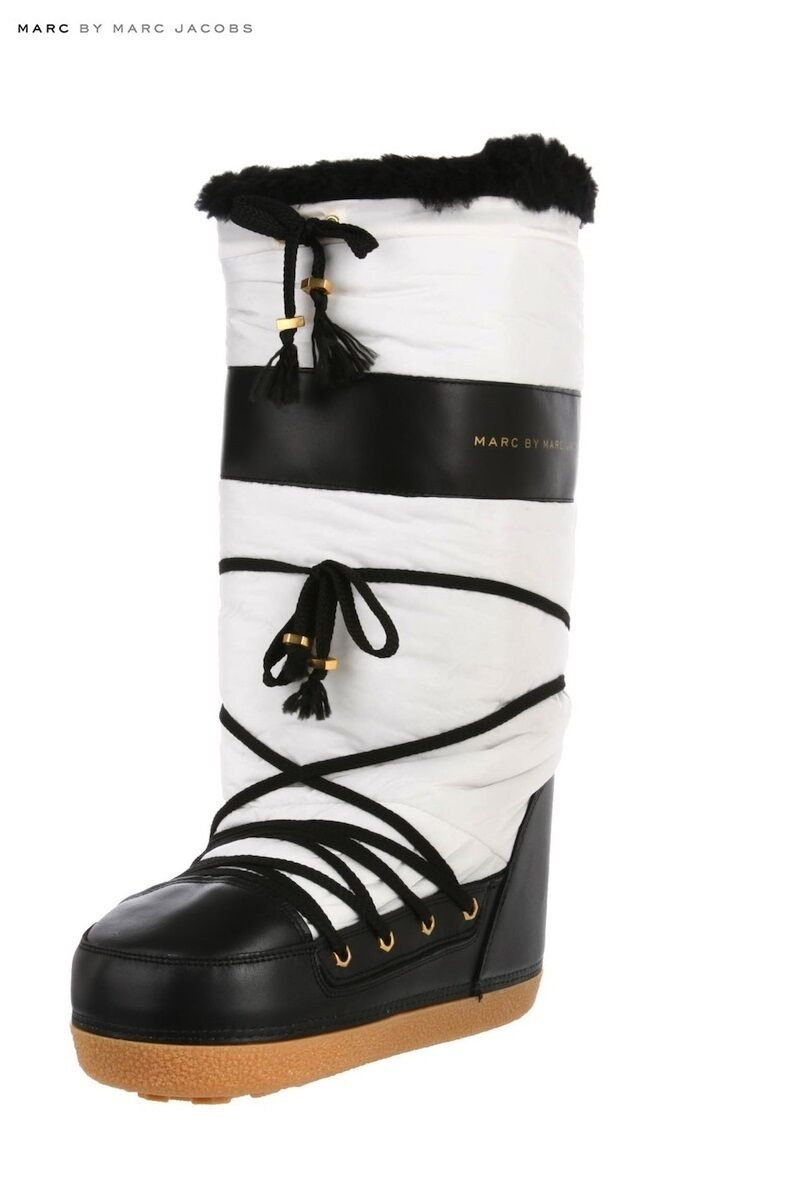 Marc by Marc Jacobs Black/White Padded Expedition Snow Boots /RRP