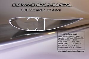 WIND-TURBINE-BLADE-Airfoil-GOE222-Airfoils-3-X-1Mtr-Blade-amp-End-Cap-Kit