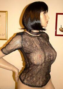 chemisier-T40-42-neuf-dentelle-noir-zippe-toute-hauteur-au-dos-bluse-blouse-L-eb
