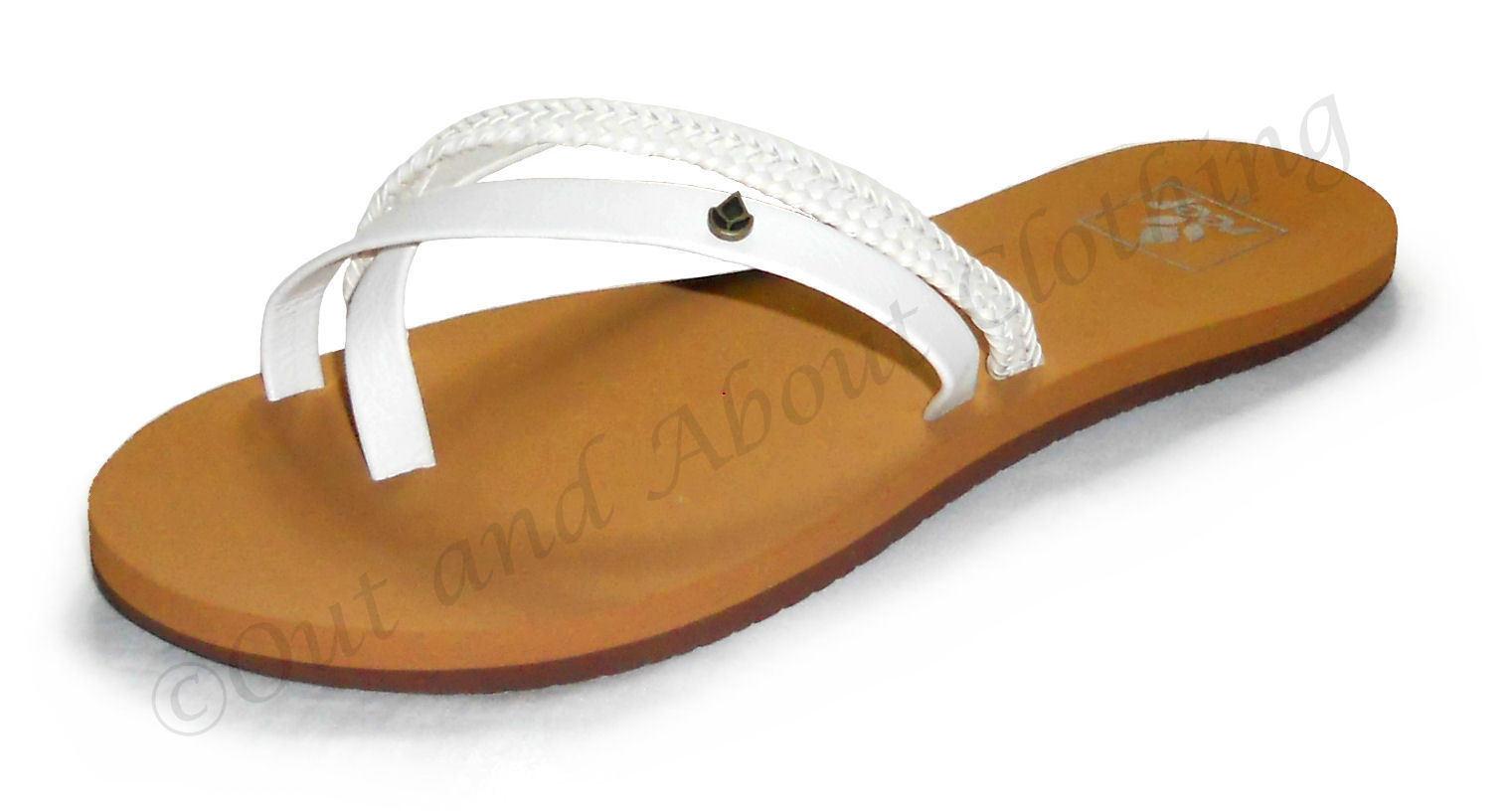 Reef Ladies 'O'Contrare LX' Flip Flops Cross Over Toe Triple Strap - White   Tan