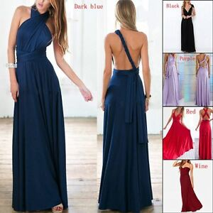 237aaa32bf Image is loading Women-Evening-Dress-Convertible-Multi-Way-Wrap-Bridesmaid-