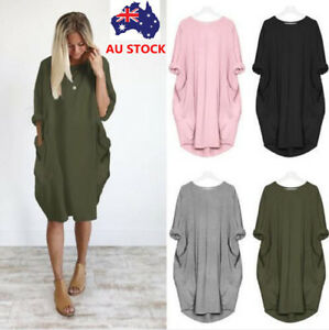 Plus-Size-Women-Short-Sleeve-Crew-Neck-Oversized-Shirt-Dress-Baggy-Long-Tops
