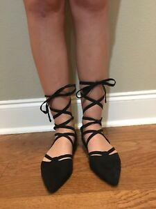 call-it-spring-black-flats-point-toe-size-8