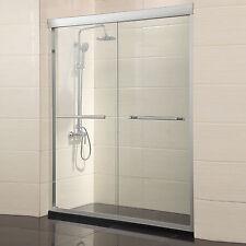 """60"""" Framed 2 Sliding Bath Shower Door 1/4"""" Clear Glass Brushed Nickel Finish"""
