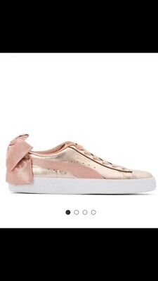 75 Puma Trainers Rose Gold Pink Bow
