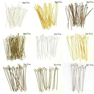 100x-Silver-Gold-Plated-Ball-Head-Eye-Pins-Jewelry-Finding-20-30-40-50-60-70mm-y
