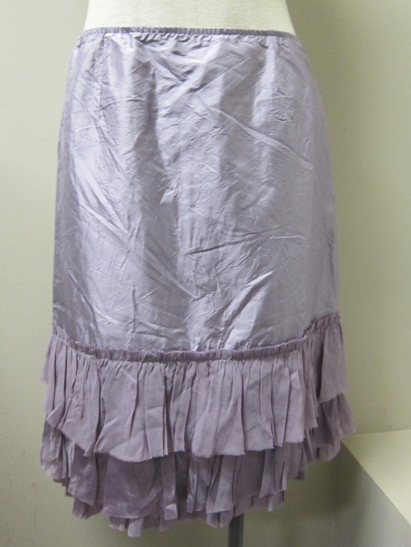 Eileen Fisher Silk Taffeta Knee Length Ruffle Skirt ICY PLUM NWT  158