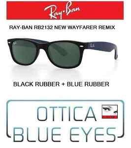 Occhiali-da-Sole-RAYBAN-2132-NEW-WAYFARER-REMIX-RAY-BAN-Sunglasses-BLACK-BLUE-RB