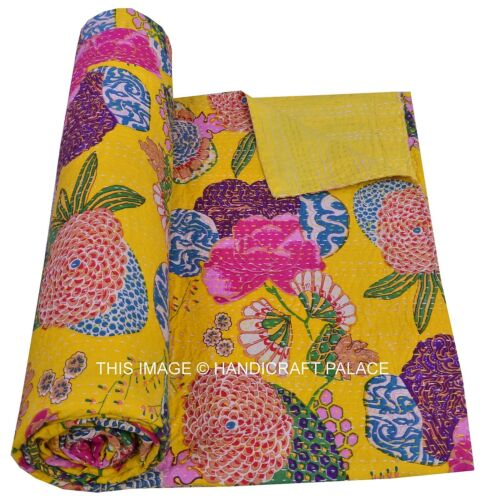 Indian Yellow Bedspread Cotton Blanket Throw Gudari Queen Kantha Quilt Decor