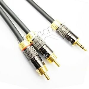 1m Premium Metal Shell Stereo Audio 3.5mm to 2 RCA Subwoofer Cable Gold Plated