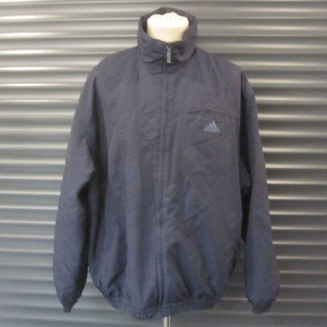 Adidas Retro Navy Blue Jacket Coat 3 Bars Logo Vintage 2001 Men's Size L 42