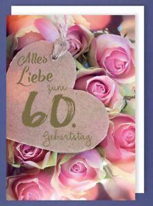 Karte 60 Geburtstag.Riesen Karte 60 Geburtstag Grusskarte Foliendruck Herz