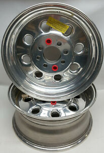 NOS-pair-Weld-Super-Lite-14X6-034-dual-4-lug-3-5-034-offset-polished-drag-race-wheels