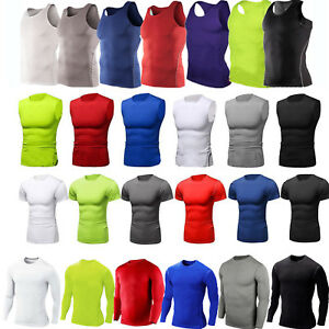 Men-Compression-Under-Base-Layer-Shirts-Vest-Tops-Athletic-Gym-Sports-T-Shirts