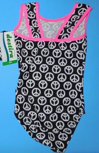 NWT Destira Gymnastic Black Tank Leotard White Peace Signs Girls Sizes 5446