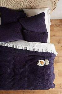 brand new anthropologie minami queen velvet coverlet navy blue 2 euro shams. Black Bedroom Furniture Sets. Home Design Ideas