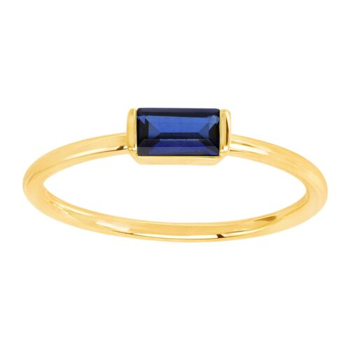 Baguette-Cut Dainty Gemstone Birthstone Ring in 14K Gold-Plated 1K Gold