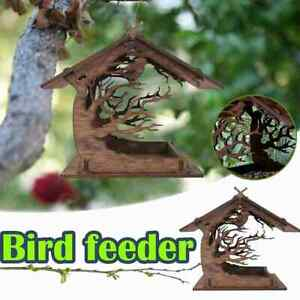 Wooden Bird House Hanging Wild Bird Feeder Food Nest Dispenser Waterproof Decor