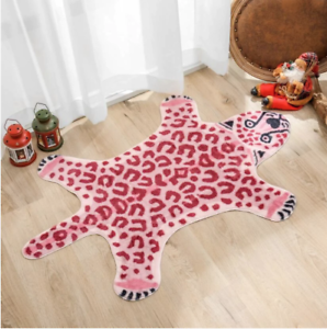 Cool Pink Leopard Print Soft Floor Rug Nonslip Cartoon Antiskid Mat Kids Room