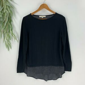 Ann-Taylor-Loft-Womens-Pullover-Knit-Top-Size-M-Black-Chiffon-Shirttail-Shirt