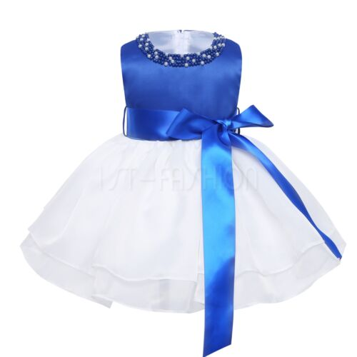 Newborn Baby Bowknot Pearl Wedding Party Dress Infant Toddler Pageant Girl Dress