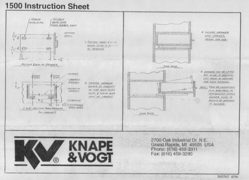 50 POUNDS CAPACITY KNAPE & VOGT DRAWER #1500P-16 CONCEALED DRAWER