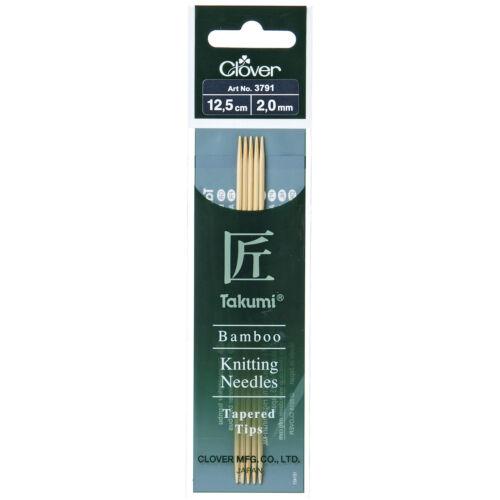 1x Aiguilles à tricoter de Double-ended Lot de cinq Takumi bambou 12.5cmx2mm Outil