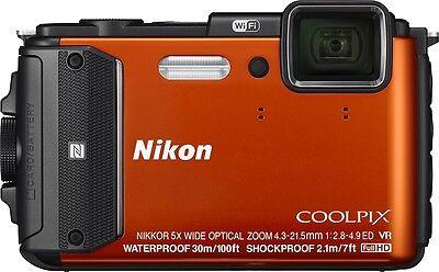 NEW Nikon COOLPIX AW130 16.0 MP Digital Camera - Orange Shock & Waterproof GPS