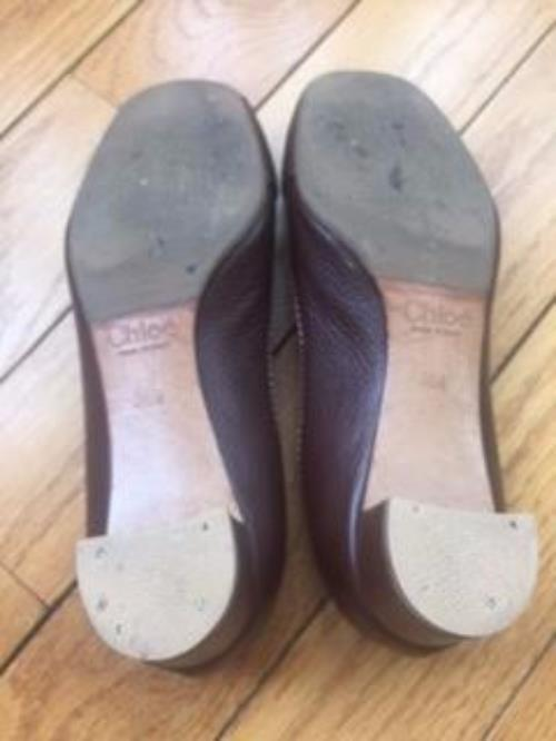 Pre-owned CHLOE braun Buckle Front Front Front Ballet Flats 1.5'' stucco heel SZ 36.5 ITALY b27fdc