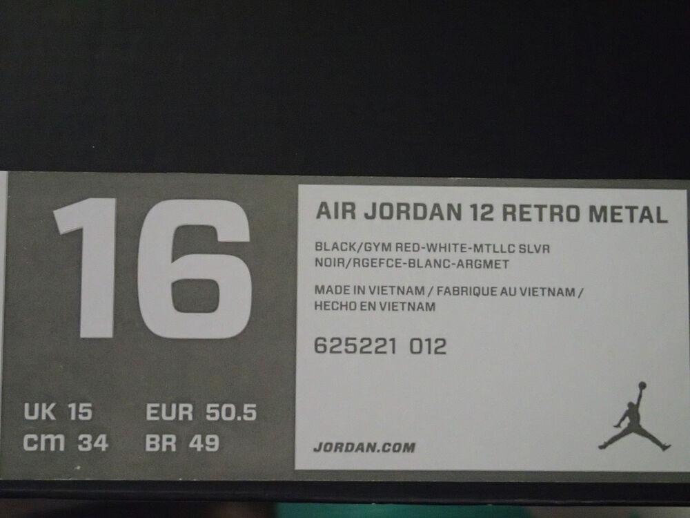Nike Air Jordan XII 12 Retro Metal Baseball ( Cleats noir SZ 16 ( Baseball 625221-012 ) fd6b4d