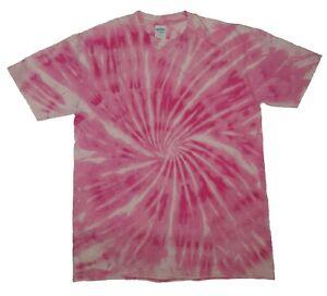 Pink-TIE-DYE-T-SHIRT-Spiral-Top-Tye-Die-Tshirt-Festival-Rainbow-Tee-Rave-Kids