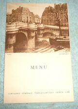 VINTAGE MENU CRUISE PAQUEBOT LIBERTE FRANCE DINNER 1955