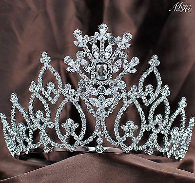 "Flowers Pageant Tiara Crown 5"" Diamante Headpiece Clear Rhinestones Wedding Prom"