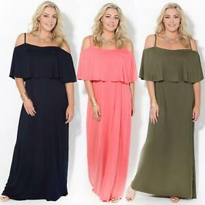 Womens-Ladies-Maxi-Dress-Sundress-Cold-Off-Shoulder-Strappy-Ruffle-Jersey-Summer